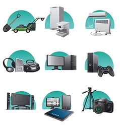 Household and electronic appliances icon set vector