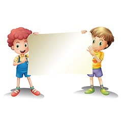 Two young boys holding an empty signage vector