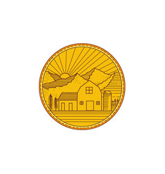 american farm barn house mountain circle mono line vector image