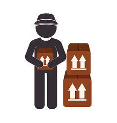 Delivery worker service icon vector