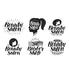 beauty salon label set makeup barbershop logo vector image