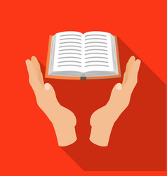 Book donation icon in flate style isolated on vector