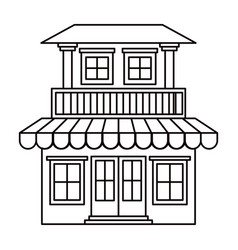 Monochrome silhouette of house with two floors vector