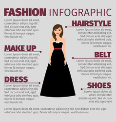 Fashion infographic with brunette in dress vector