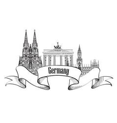 Germany label famous german landmark set travel vector