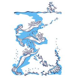 three mermaids swim to the ship vector image