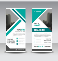 Green triangle business roll up banner flat design vector