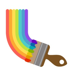Brush painting rainbow vector