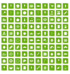100 confectionery icons set grunge green vector