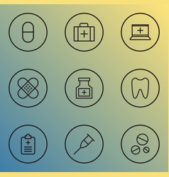 Medicine outline icons set collection of tooth vector