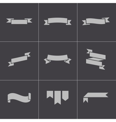 black ribbon icons set vector image