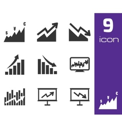 Black economic icons set vector