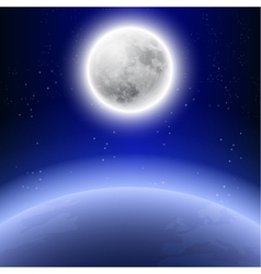 Full moon in the night sky vector