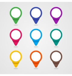 Set of colorful map pointer in flat style and vector