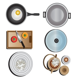 Kitchen equipment top view set 10 vector