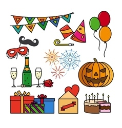 Birthday celebration thin line icons vector