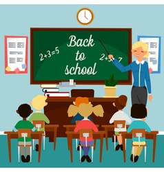 Back to School Classroom with children Teacher vector image