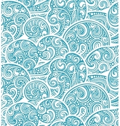 Seamless pattern with hand drawn doodle sea waves vector
