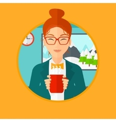 Woman enjoying cup of hot coffee vector