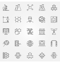 Biotechnology line icons set vector