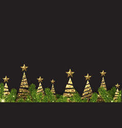 background with golden abstract christmas trees vector image vector image