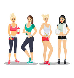 beautiful sport fitness girls models young woman vector image vector image