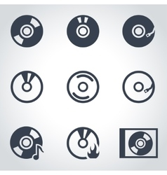 black cd icon set vector image vector image