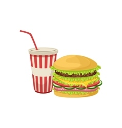 Burger combo street food menu item realistic vector
