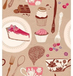 Card with cups and sweets vector