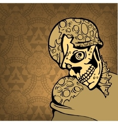 Cartoon skull on an abstract background with a vector