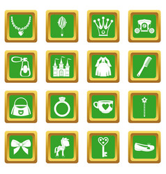 Doll princess items icons set green vector
