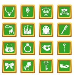 Doll princess items icons set green vector