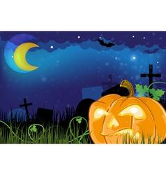 Evil Jack o lantern on a cemetery vector image vector image