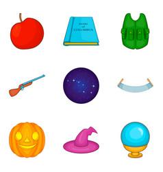 evil spirit icons set cartoon style vector image vector image