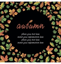 Fall season card with lettering vector image