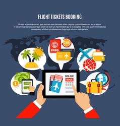 flight tickets online booking poster vector image vector image