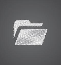 folder sketch logo doodle icon vector image vector image