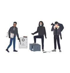 Gang of robbers or burglars dressed in black vector