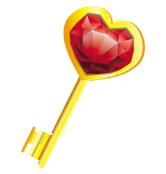 golden key with diamond heart vector image