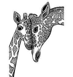 graphic with two giraffes in love vector image