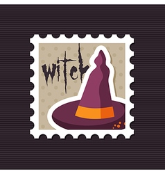 Halloween witch hat stamp vector