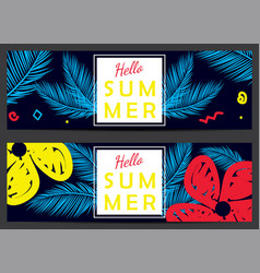 Hello summer banners vector