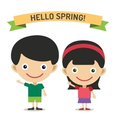 Hello summer cartoon boy and girl with hands up vector
