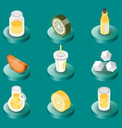 lemonade flat isometric set vector image