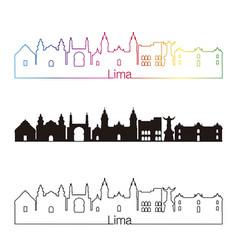Lima skyline linear style with rainbow vector