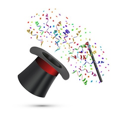 Magician top hat and stick with confetti vector
