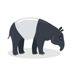 malayan tapir cartoon icon in flat design vector image