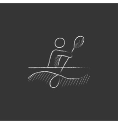 Man kayaking drawn in chalk icon vector