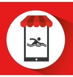 Mobile phone silhouette sportman swimming vector