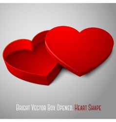 Realistic blank red opened heart shape box for vector